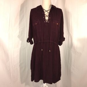 Lace up red acid wash dress
